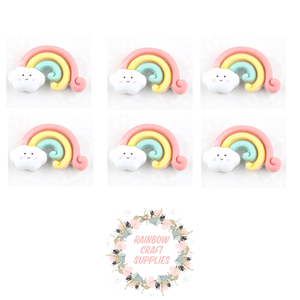 4 x cute rainbow  flatback Embellishments