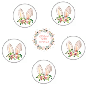 Easter bunnyears  glass dome cabochon flatback Embellishments x 4