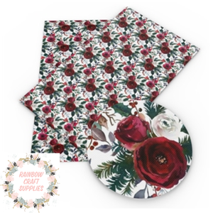 Winter roses patterned leatherette fabric