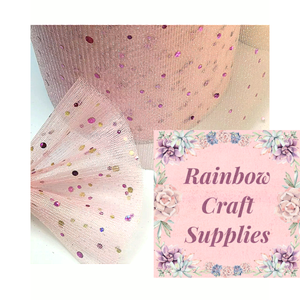 "Glitter Sparkly Sequin  Enhanced Soft Tulle 6 "" Wide  Fabric"