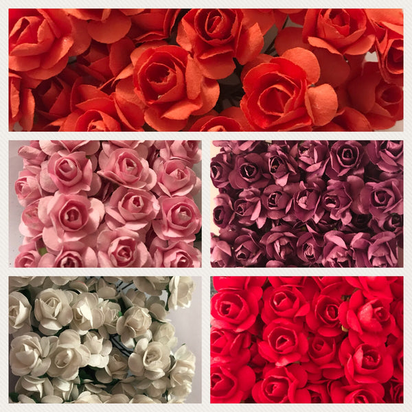 12 Mini paper roses 10 colours to choose from