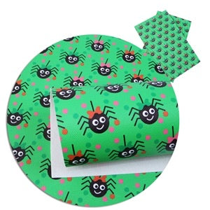 Little miss spider patterned leatherette fabric