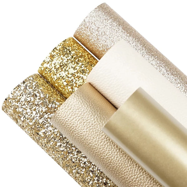 6 piece gold series glitter and leatherette A4