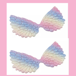 Ombré glitter angel wing embellishments 7.cm x 5 pack