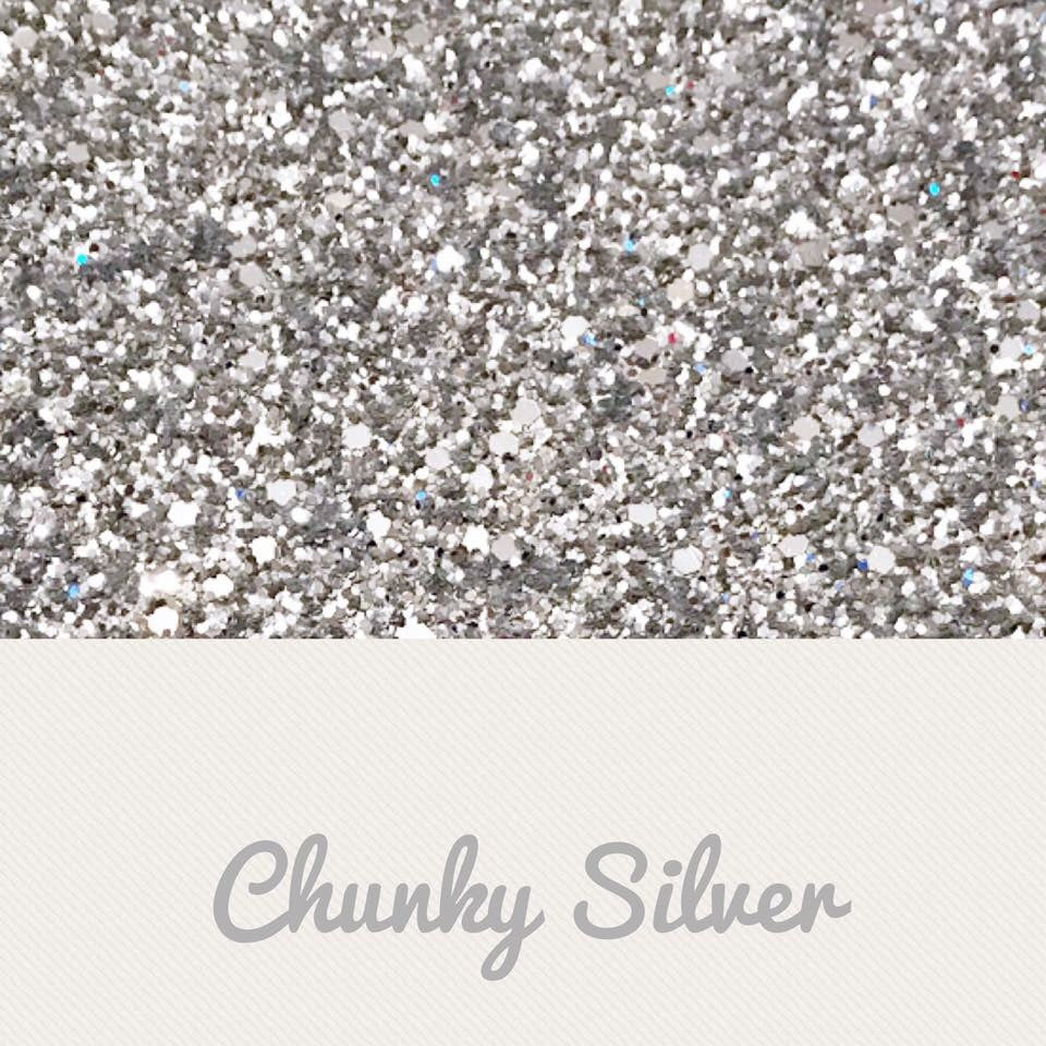 Silver chunky glitter fabric