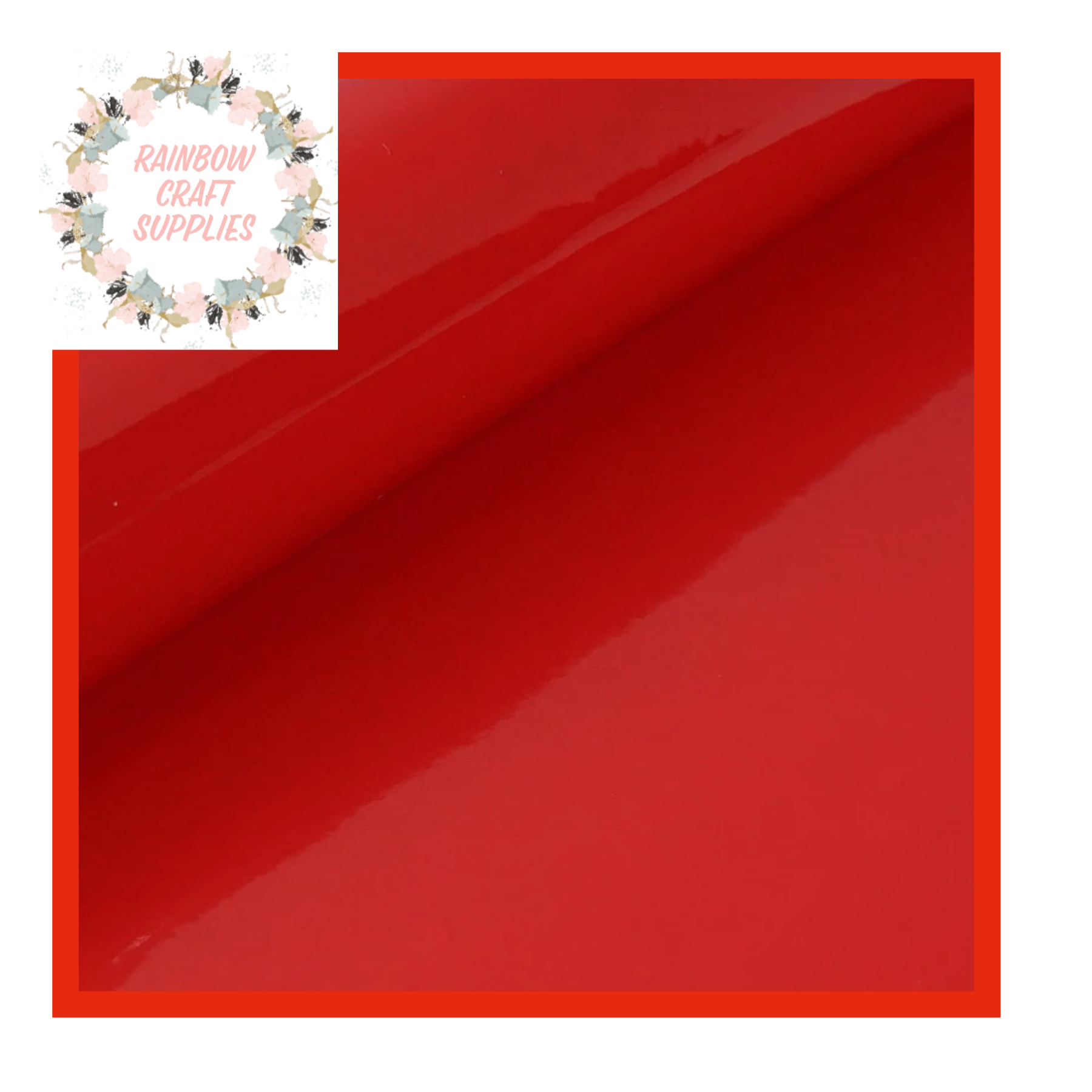 Bright red patent leatherette fabric A4