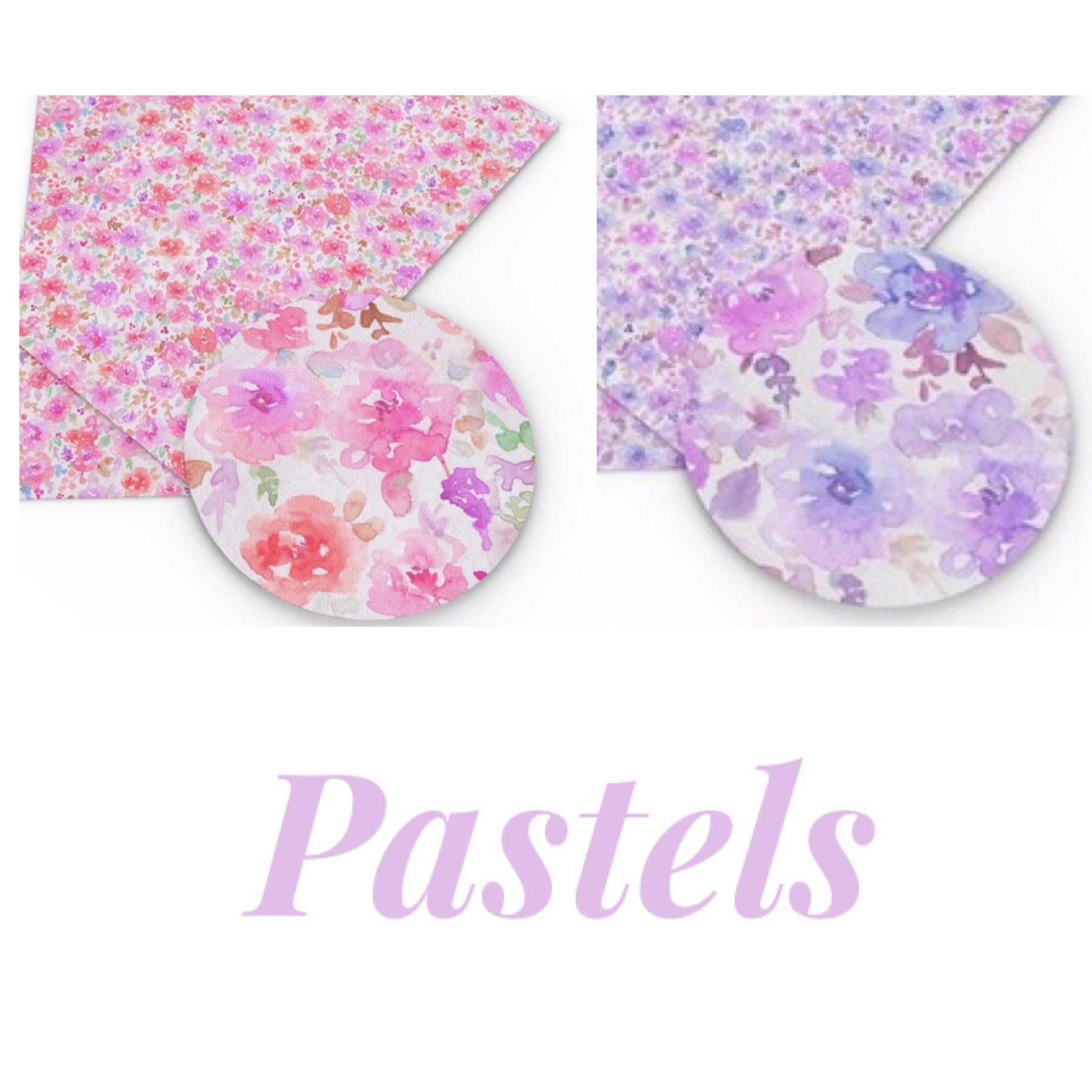 Water colours floral printed leatherette fabric A4