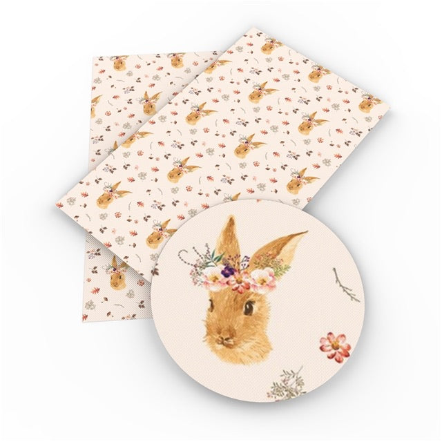 Floral bunny leatherette fabric
