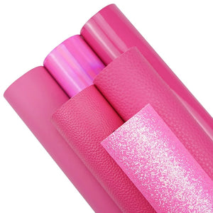 6 piece hot pink series glitter and leatherette A4