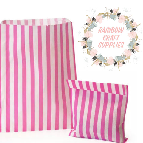 10 x pink stripe lucky dip / craft fair paper bags 7 x 5""