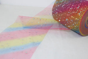 "Luxury rainbow glitter tulle 6"" sold by the metre"