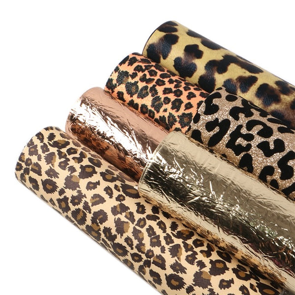 6 piece Leopard gold leatherette and glitter fabric set 34 x 21 cm