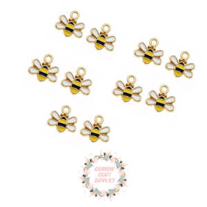 Mini bumble bee enamel  charms x 5