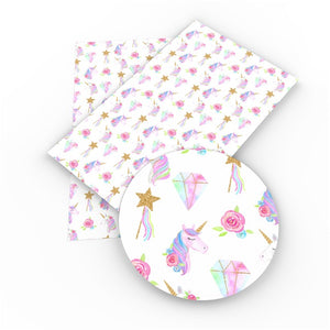 Fairytale unicorn printed Leatherette fabric A4