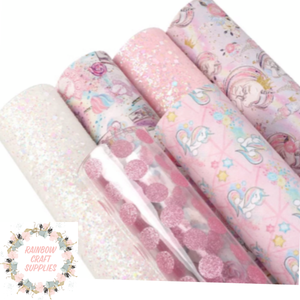 6 piece pink unicorn inspired leatherette & glitter fabric set