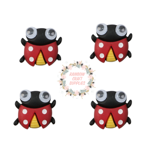 4 x lady bird clay flatback embellishments