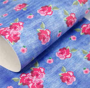 Floral denim style leatherette fabric A4