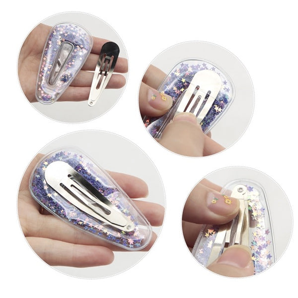 Transparent sequin filled  hair clip covers 70mm x 2