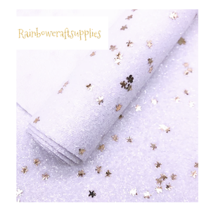 Premium white chunky glitter fabric with gingerbread man sequins