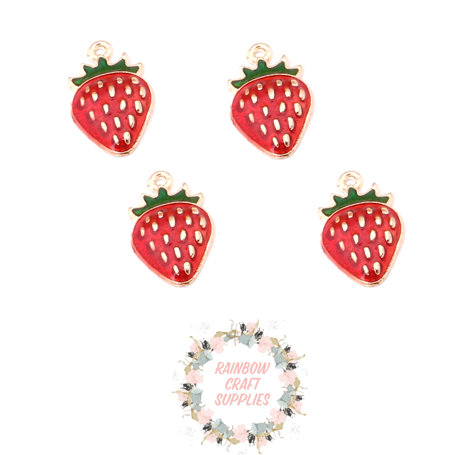 Strawberry fruit enamel  charms
