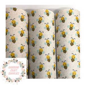 Bumble bee patterned glitter vinyl leatherette fabric A4