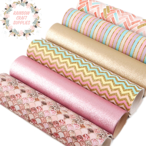 Shimmer pastels patterned & metallic leatherette fabric set