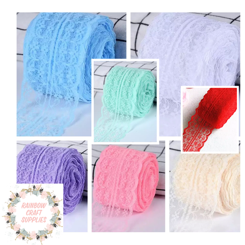 4.5cm embroidered lace ribbon  fabric 1 meter