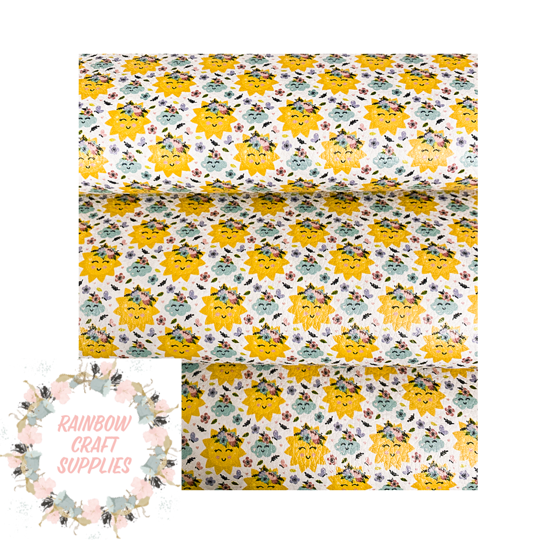 Sunshine  patterned leatherette fabric A4