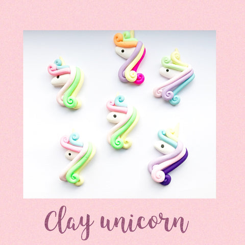 3 Piece unicorn clay flat back Embellishments
