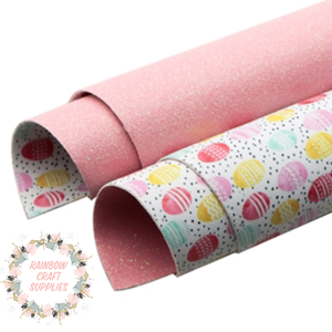 Double side Easter theme leatherette  & glitter fabric
