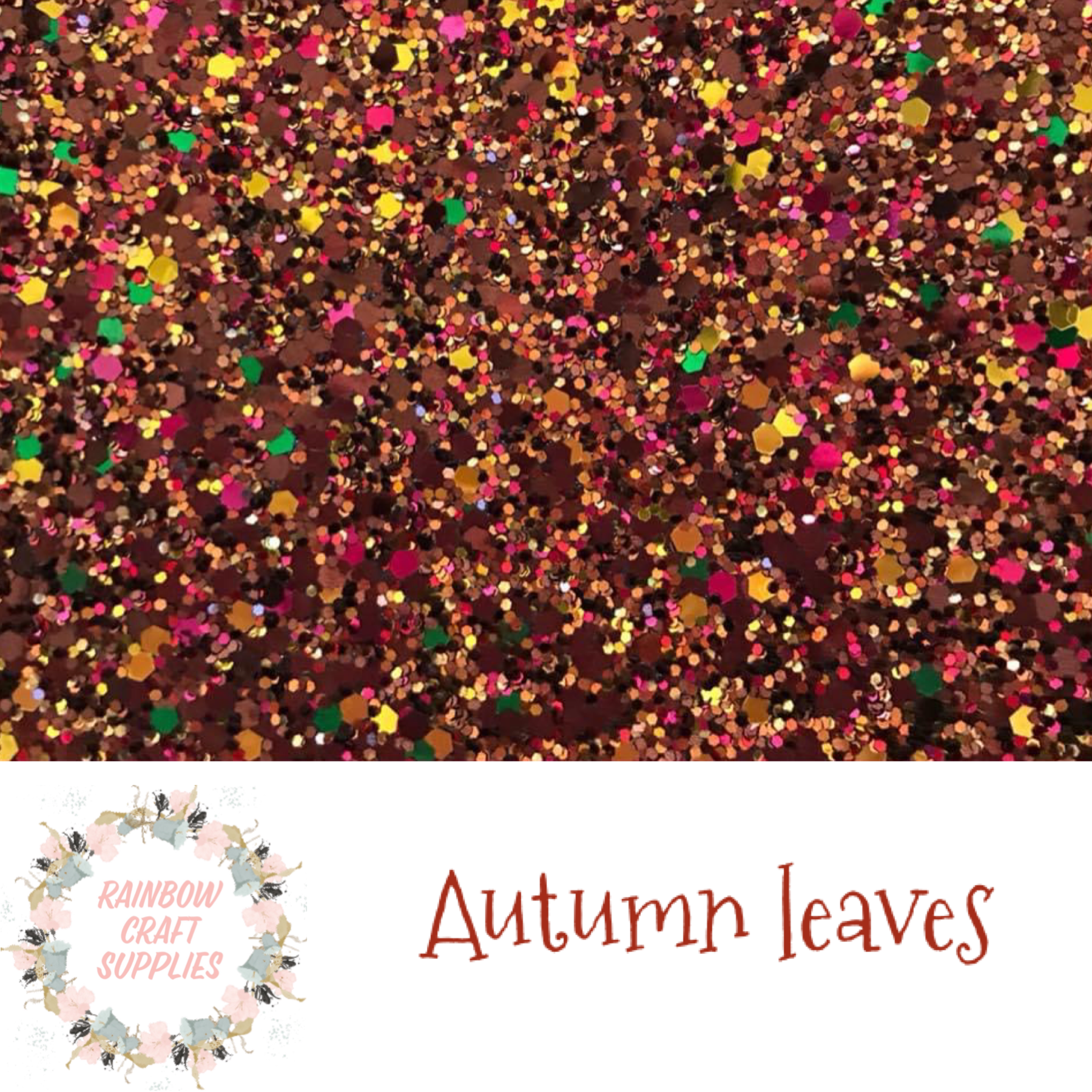 Autumn leaves  chunky glitter fabric