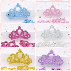46 x 29 mm felt backed glitter tiara  / crown embellishments