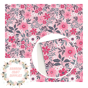 Pinks floral printed leatherette fabric