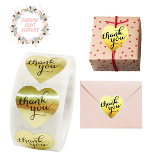 20 x gold heart Thankyou stickers