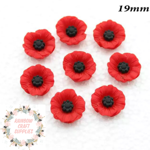 Poppies flower flatback Embellishments x 5