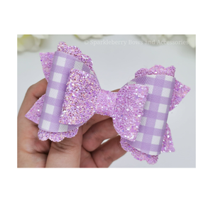 "3"" Triple loop scallop hair bow plastic template"