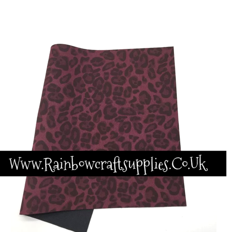 Burgundy leopard patterned suedette fabric A4