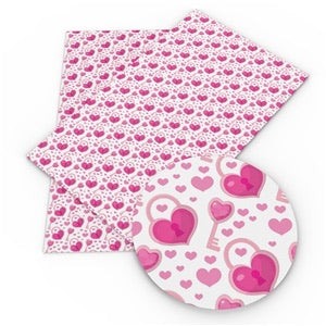 hearts  love lock patterned leatherette fabric