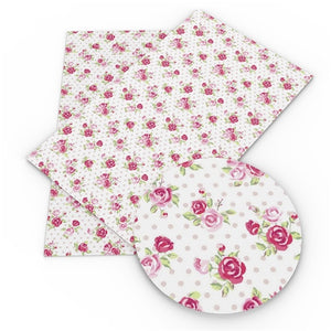 Dotty  floral rose printed leatherette fabric A4