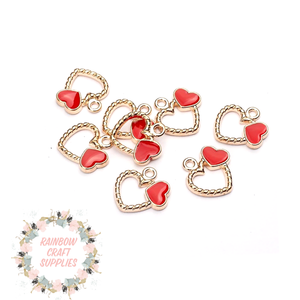 Double heart charms