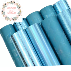 Turquoise assorted leatherette fabric collection