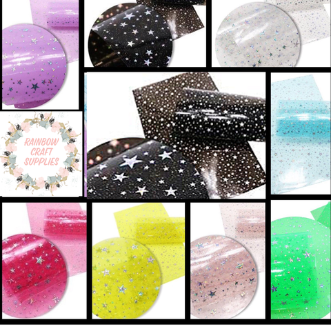 Transparent glitter and star pvc fabric A4