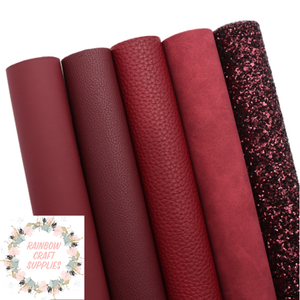 Burgundy glitter leatherette & suedette fabric collection
