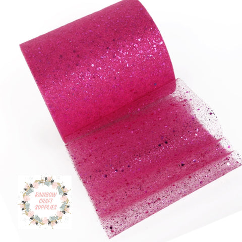 "Hot pink glitter tulle 6"" x 1m"