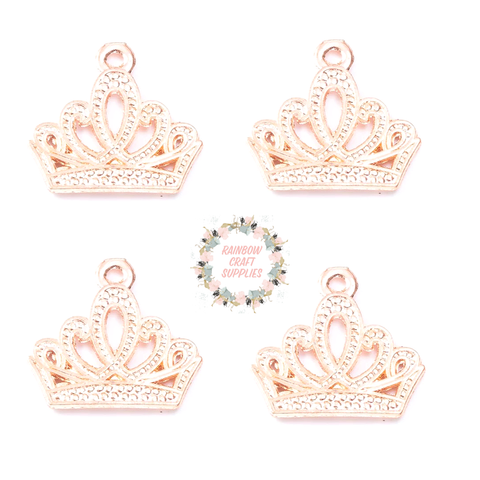 Rose gold crown charms