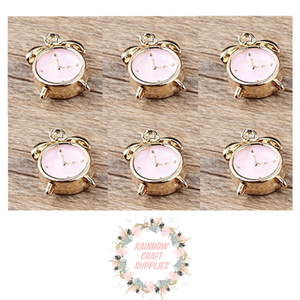 Pink & gold colours cute clock pendant charm