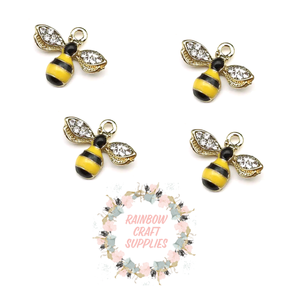 Cute bumble bee enamel and crystal charms