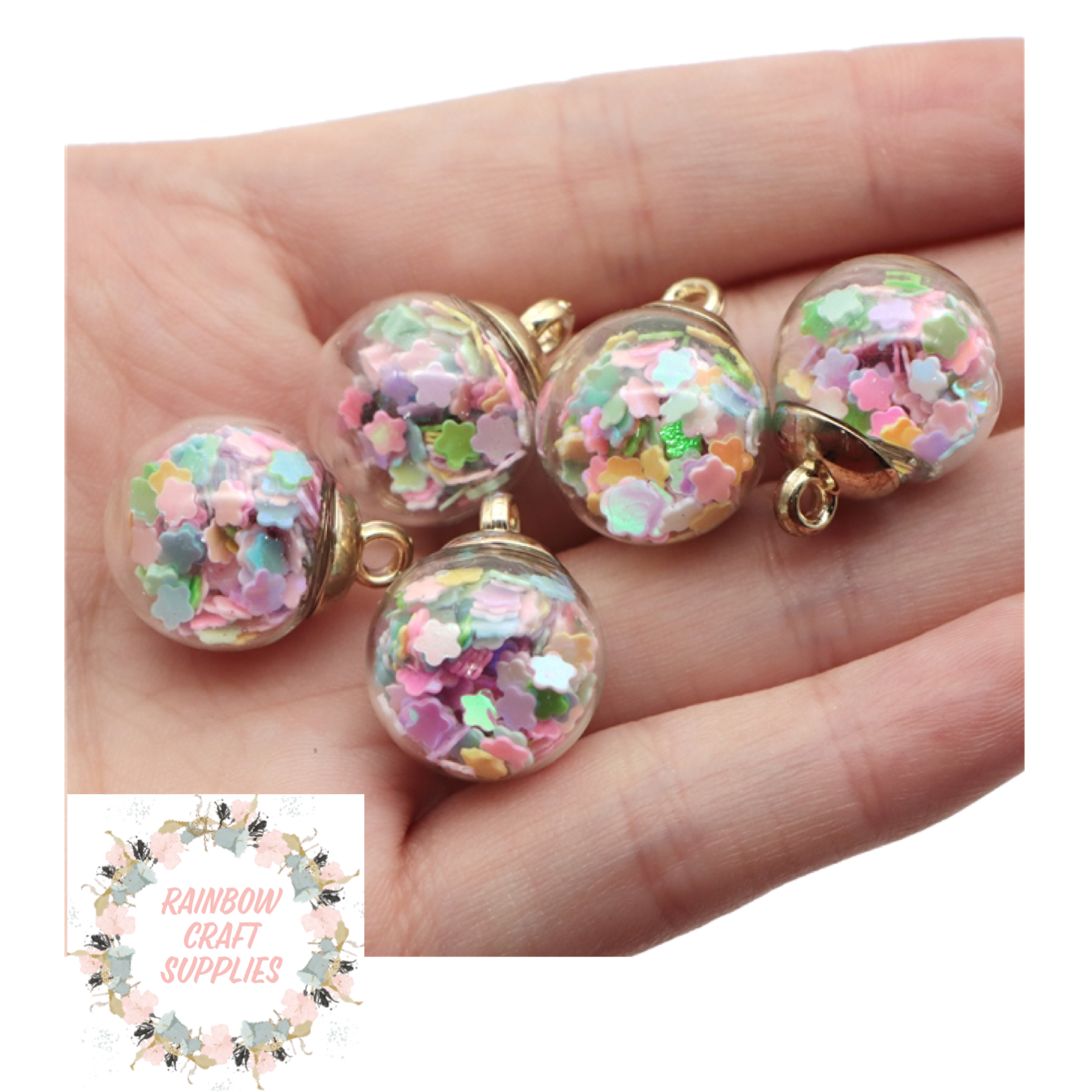 Sequin star filled Bauble charms