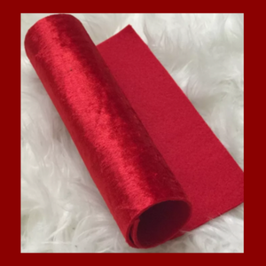 Red Felt backed crushed velvet fabric ( fabric felt)