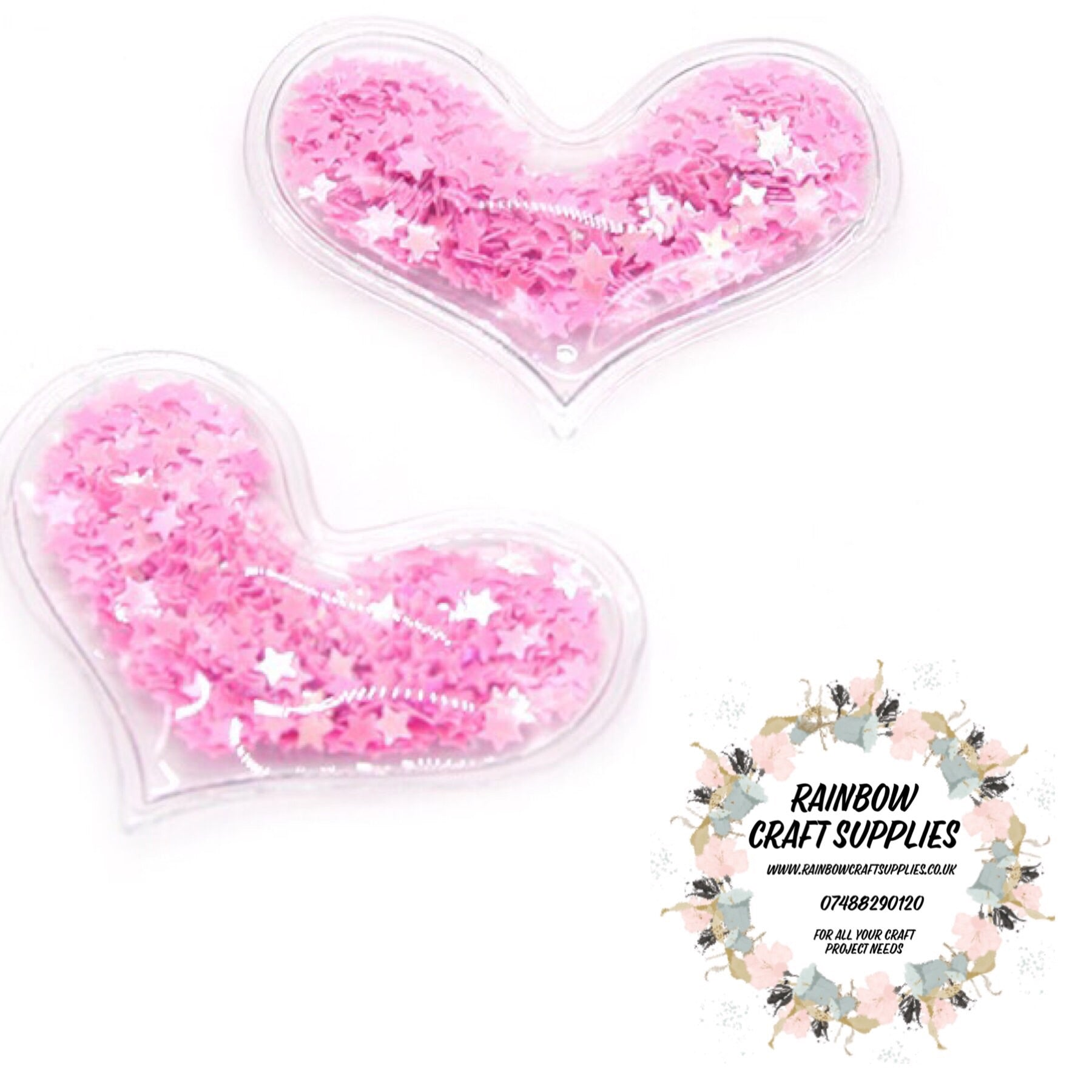 Sequin filled hearts  65mm pink